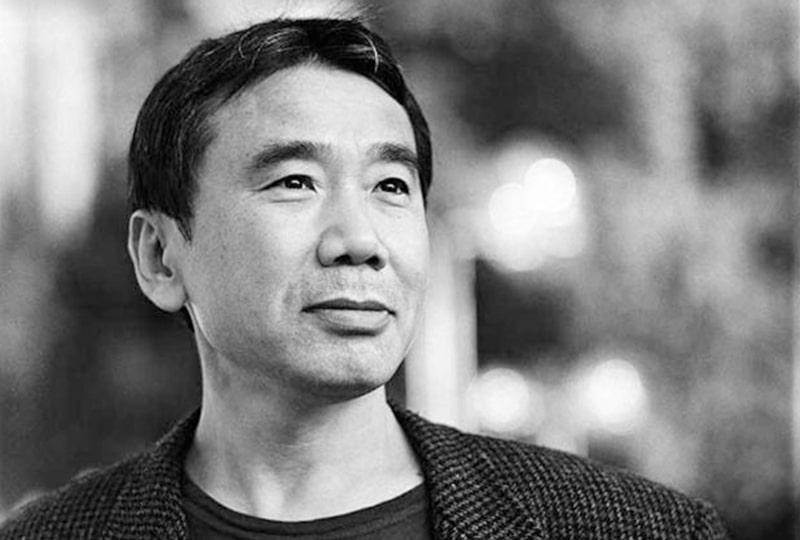 portrait in black and white of Haruki Murakami.