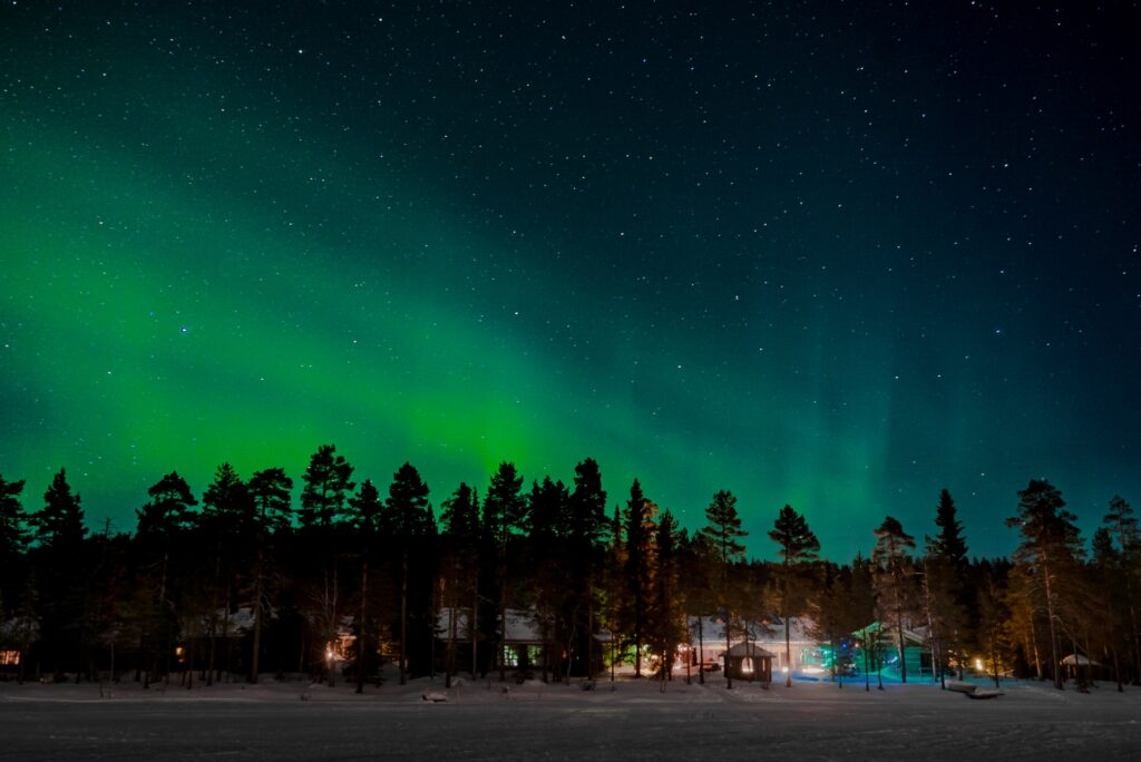 The Northern Lights over Ruka, Finland