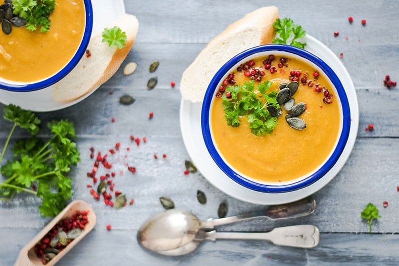 vegan soup with carrot ginger and tumeric.