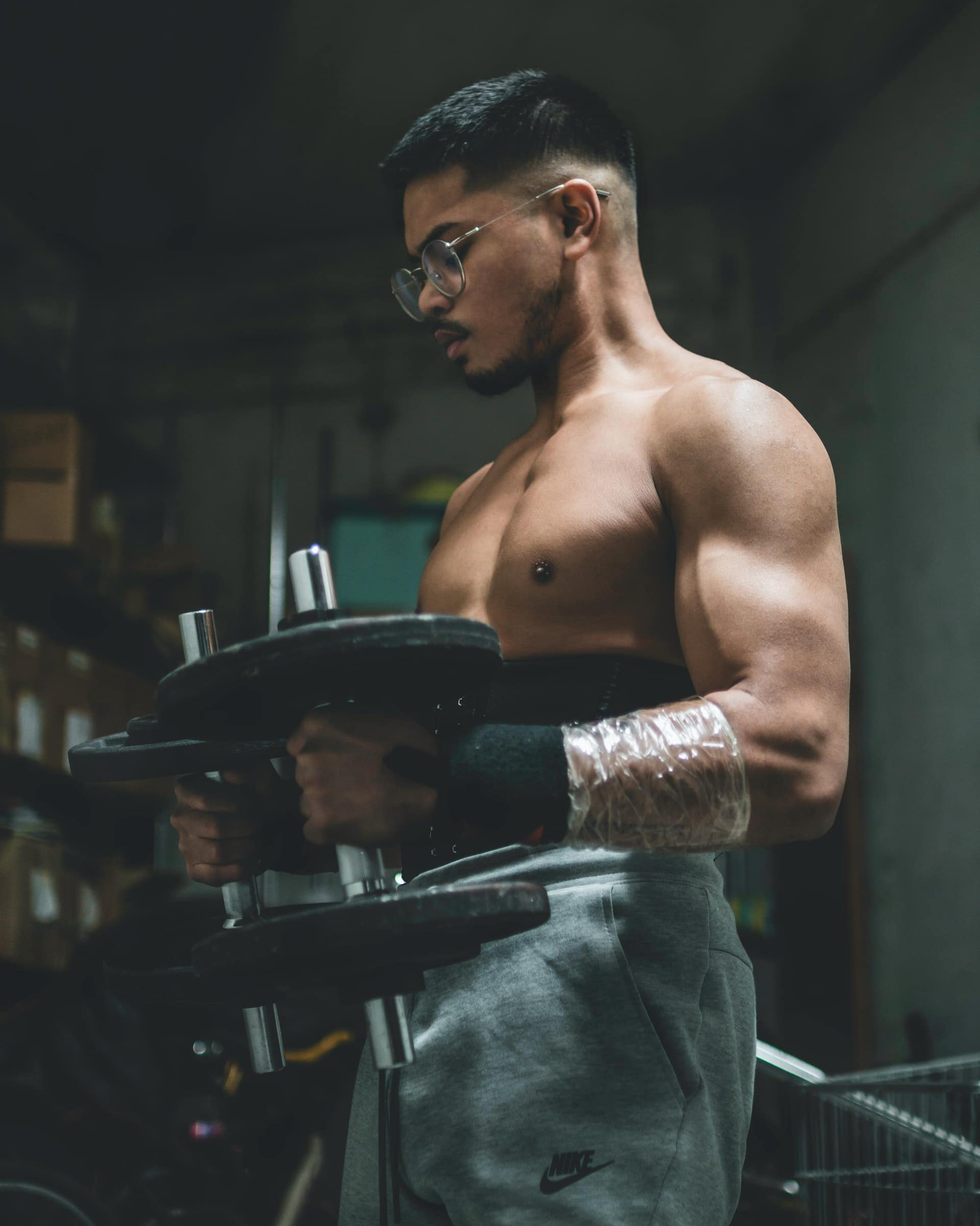 male athlete training in the gym