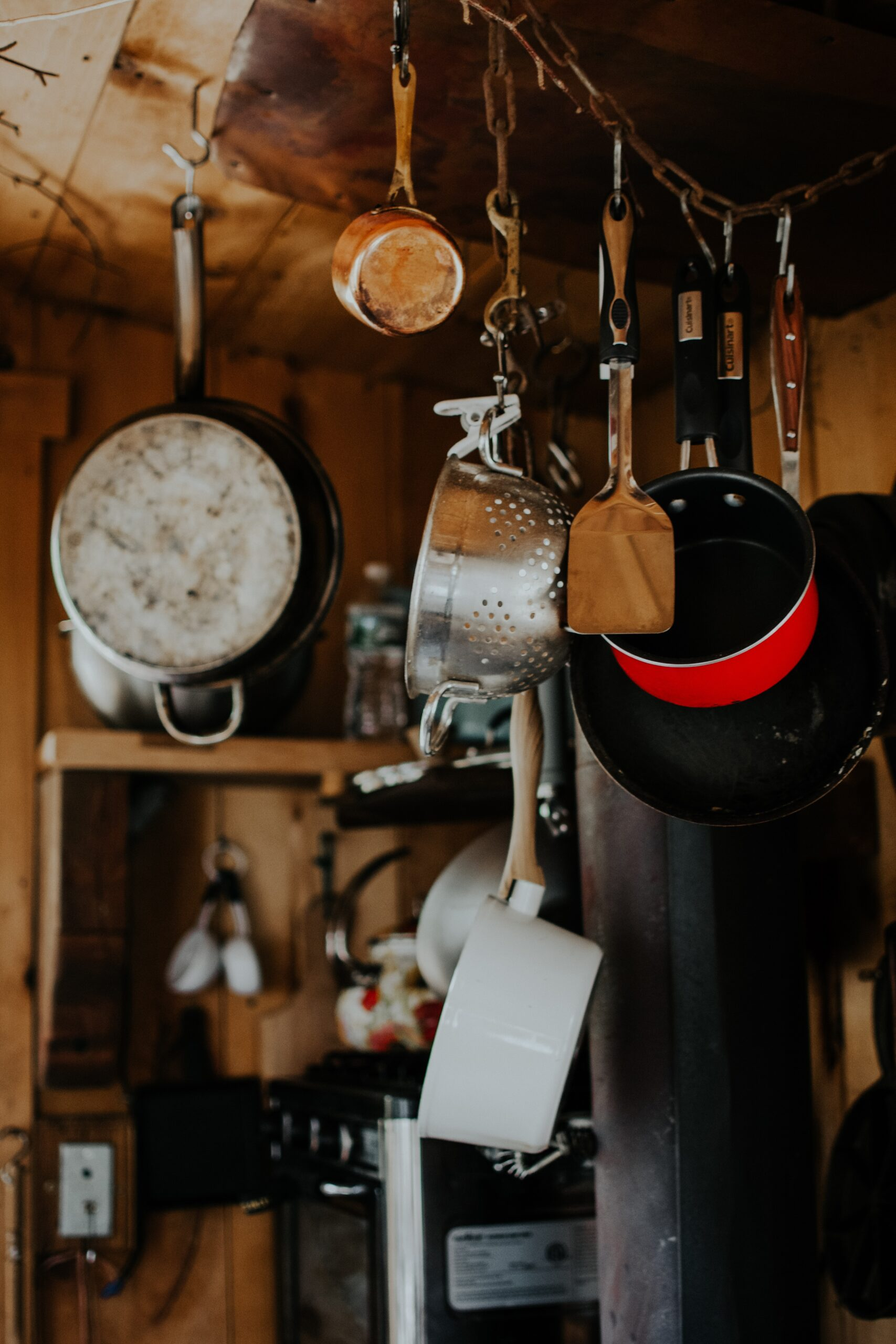 pots and pans in cabin in the woods