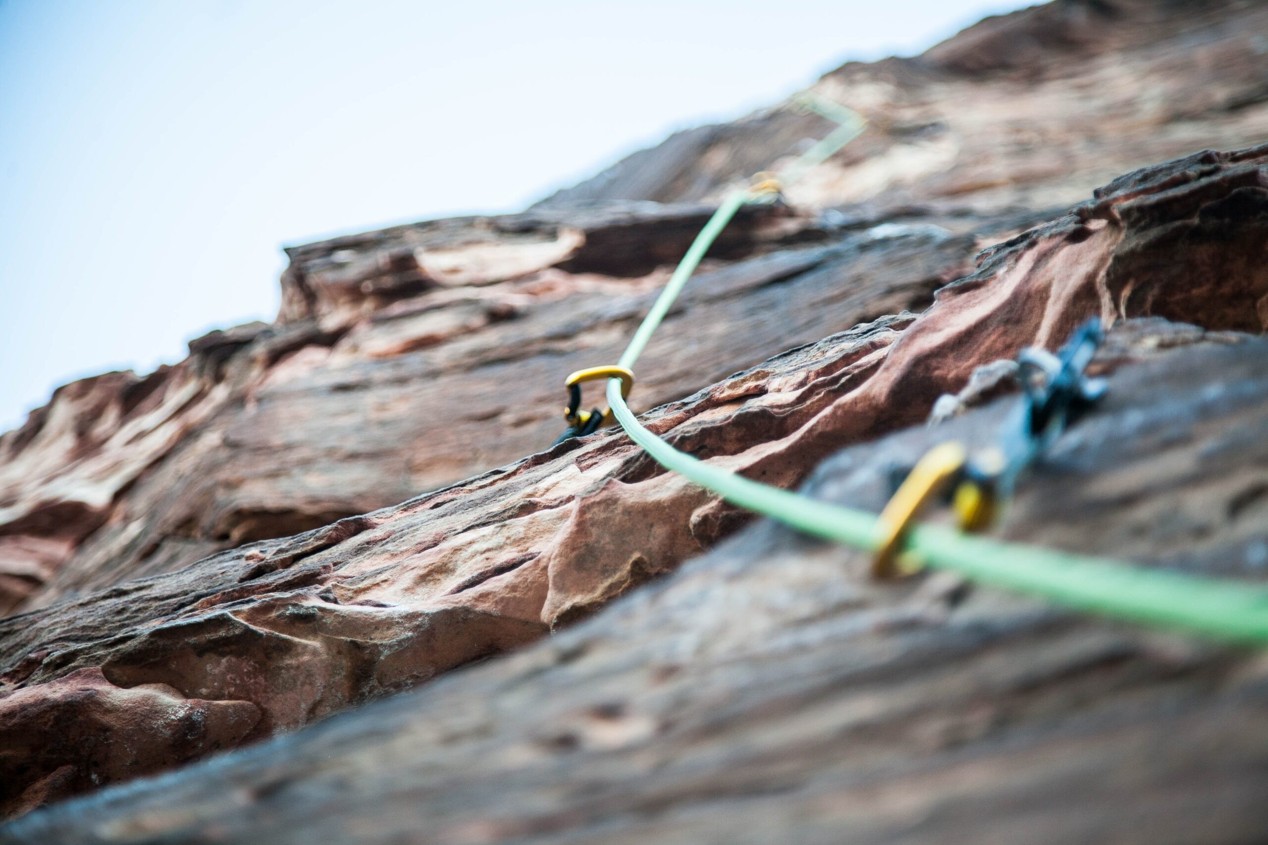 Climbing rope on cliff