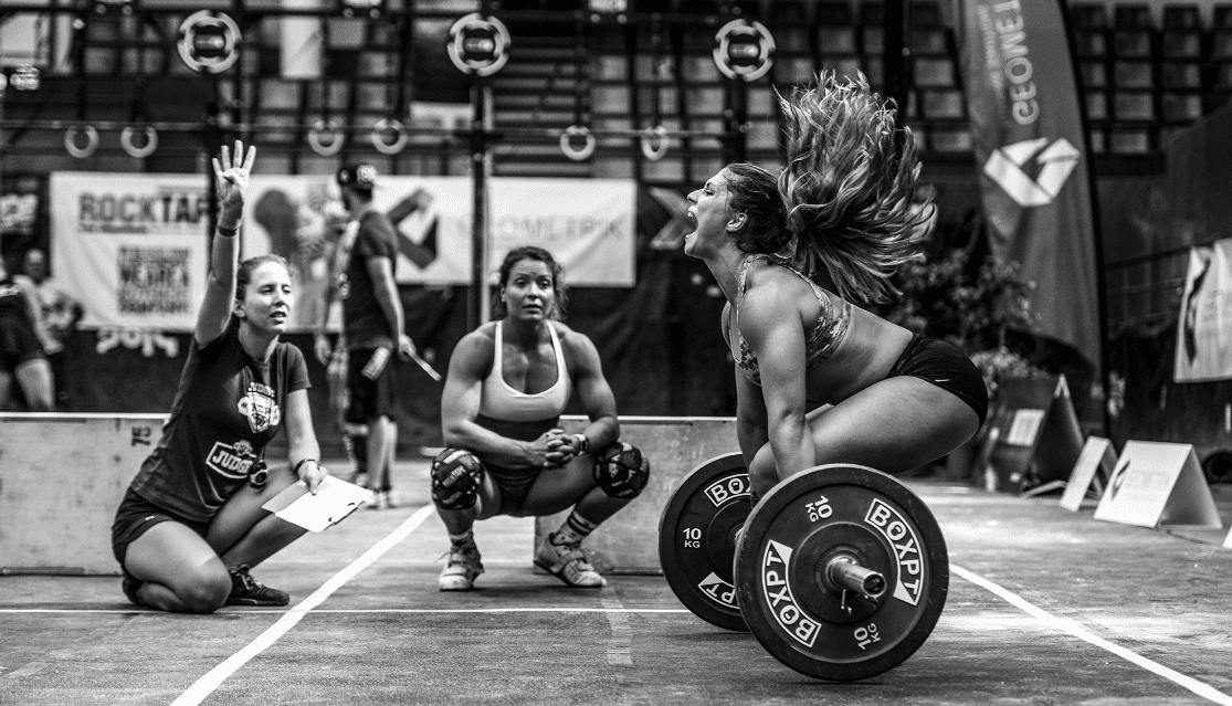 Athlete lifting weight in competition