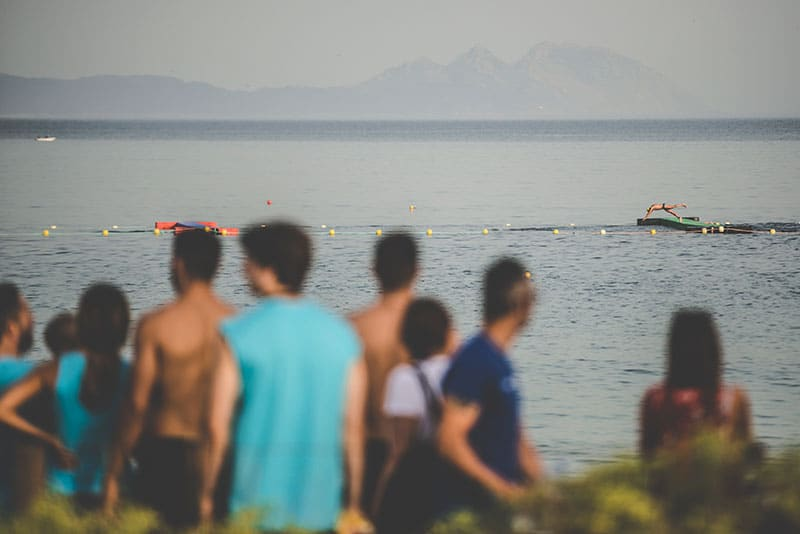 Swimming athletes in the sea