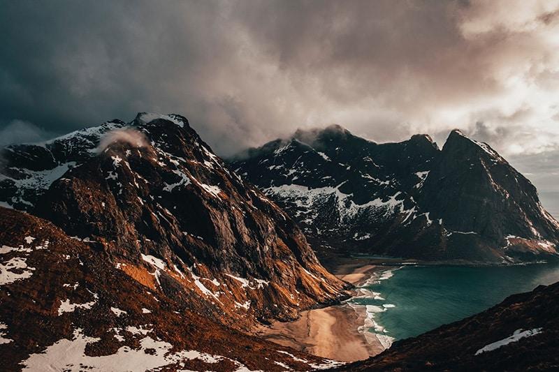 mountains next to the sea