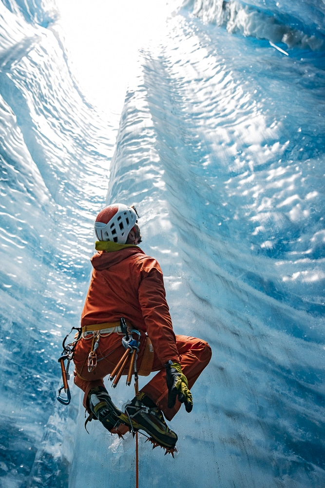 Ice climbing with ropes