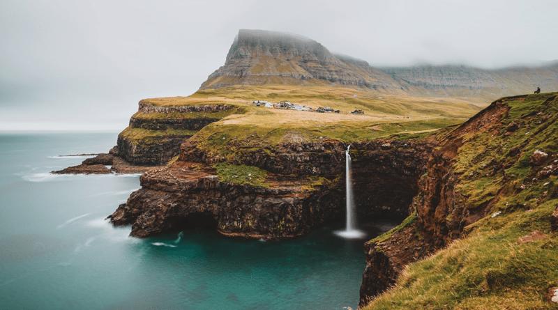 Faroe Islands Waterfall and Sea