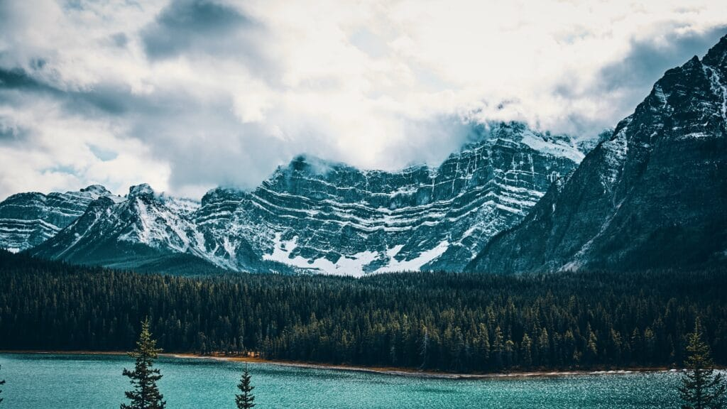 Mountain and lake and sky and trees