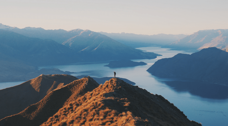 Mountains and lakes and hiker